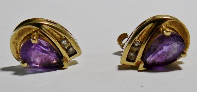 10K YG Diamond & Teardrop Amethyst Post Earrings