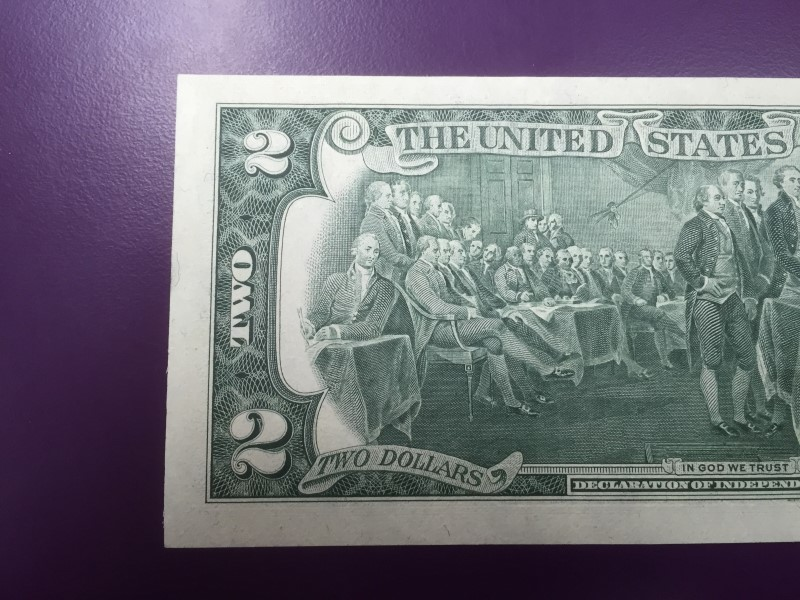 UNITED STATES 1976 $2 FIRST ISSUE ERROR REV STAMP