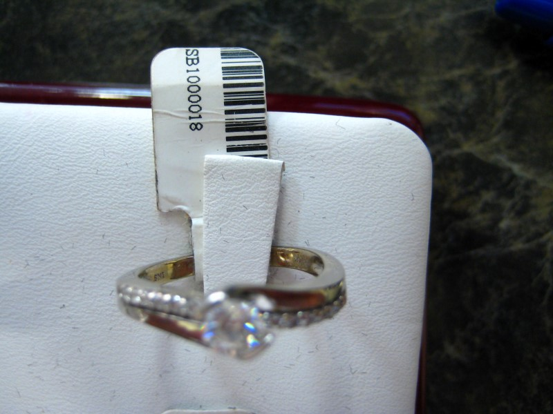 Lady's Diamond Engagement Ring 0.01 CT. 14K White Gold 4.1g