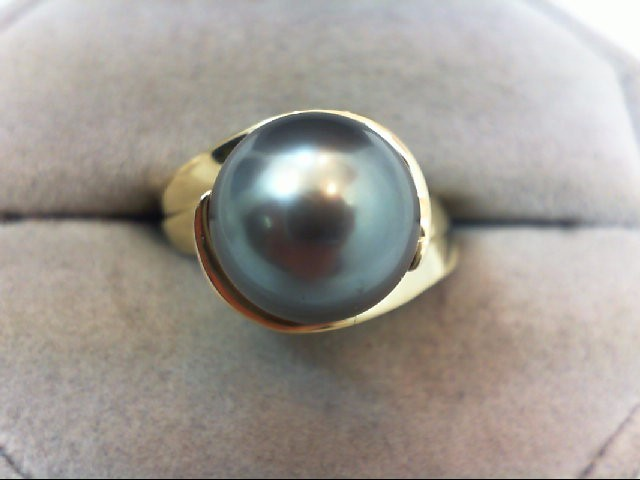 Pearl Lady's Stone Ring 18K Yellow Gold 9.41g