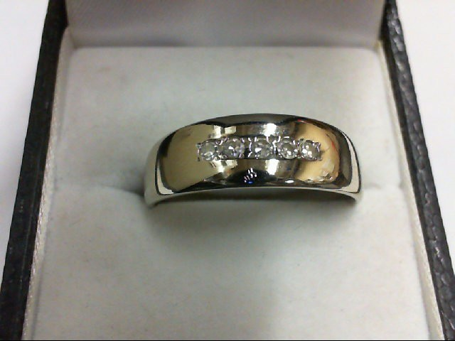 Gent's Gold-Diamond Wedding Band 5 Diamonds 0.1 Carat T.W. 14K White Gold 4.4g