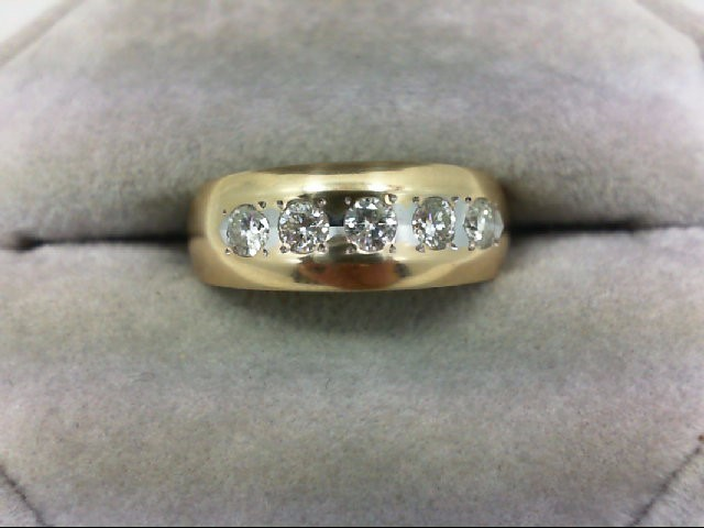 Lady's Diamond Wedding Band 5 Diamonds 0.5 Carat T.W. 14K Yellow Gold 5.3g Size: