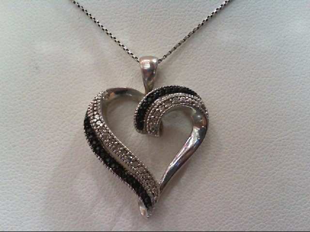 Silver-Diamond Pendant 40 Diamonds .200 Carat T.W. 925 Silver 4.4g
