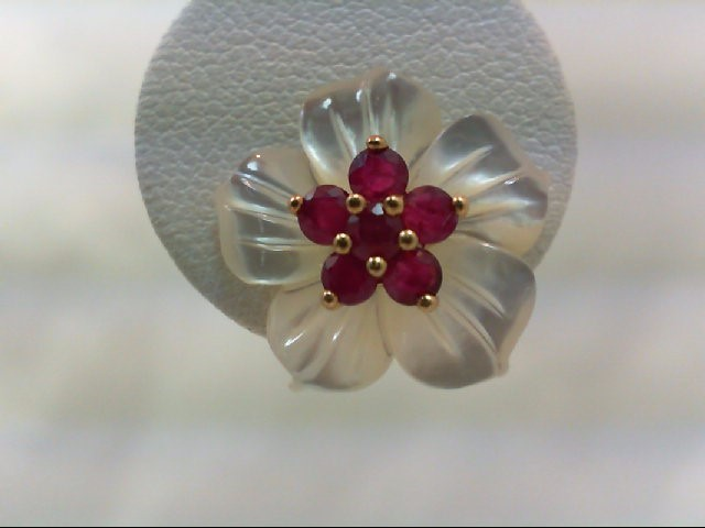 Ruby Gold-Stone Earrings 14K Yellow Gold 2.9g