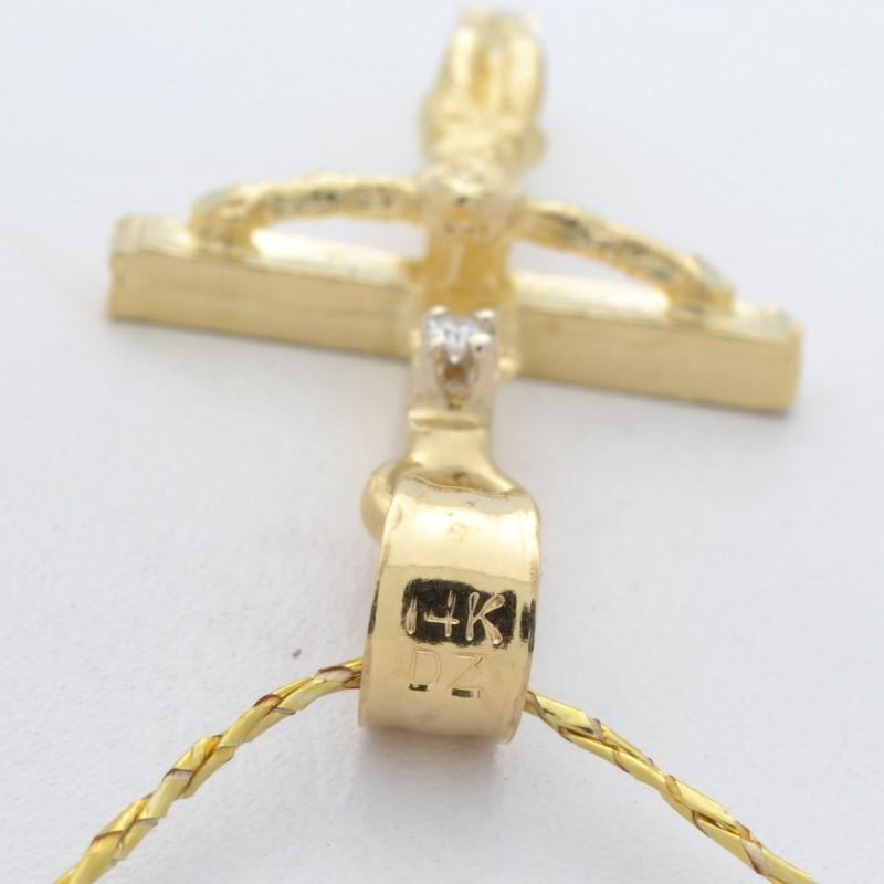 "ESTATE DIAMOND CRUIFIX CROSS PENDANT CHARM SOLID 14K GOLD JESUS 1"""