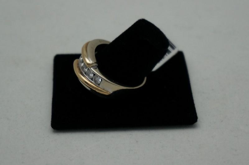 Gent's Gold-Diamond Wedding Band 7 Diamonds 1.05 Carat T.W. 14K 2 Tone Gold