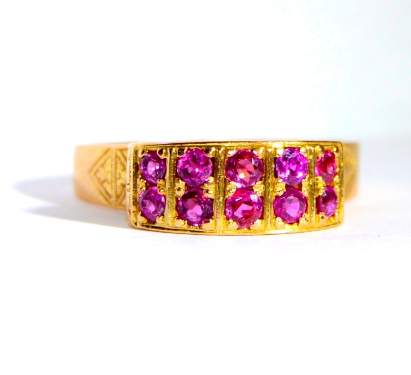 Ruby Lady's Stone Ring 14K Yellow Gold 4.17g
