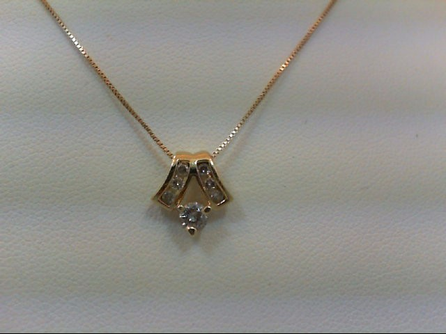Gold-Multi-Diamond Pendant 7 Diamonds .27 Carat T.W. 14K Yellow Gold 2.3g