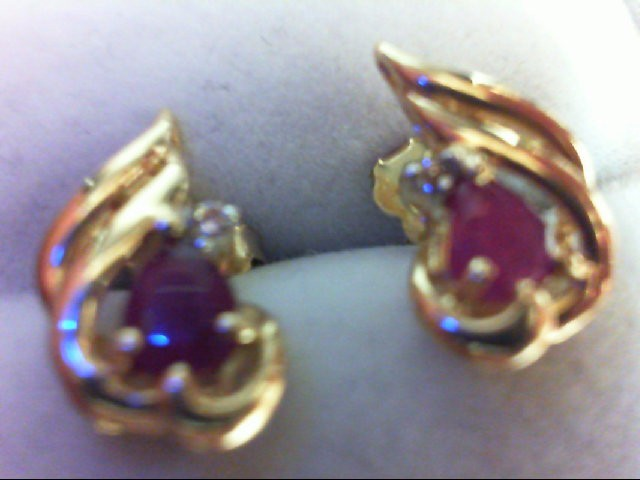 Ruby Gold-Diamond & Stone Earrings 2 Diamonds 0.02 Carat T.W. 14K Yellow Gold 1.