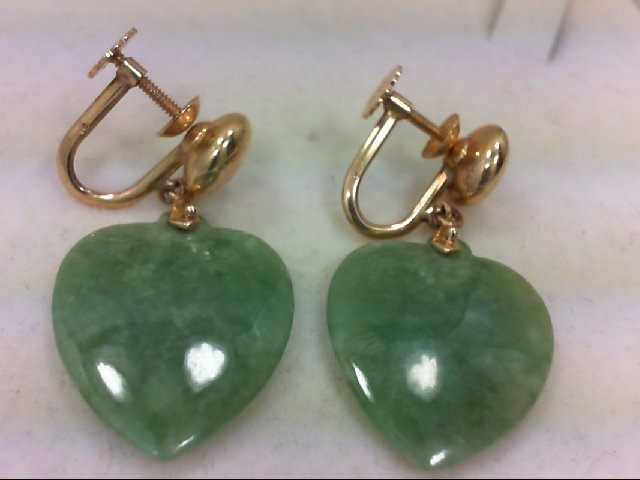 Jade Gold-Stone Earrings 14K Yellow Gold 10.7g