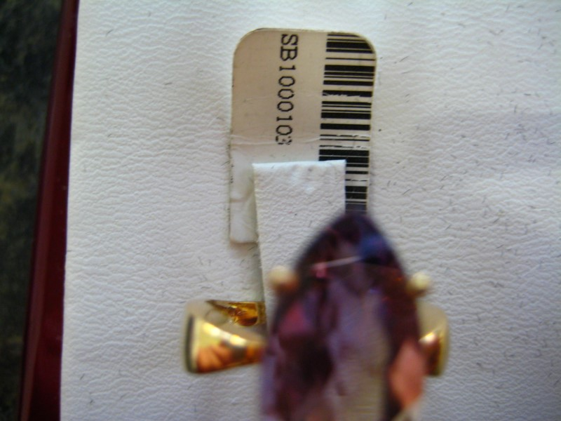 Synthetic Purple Stone Lady's Stone Ring 14K Yellow Gold 4.7g