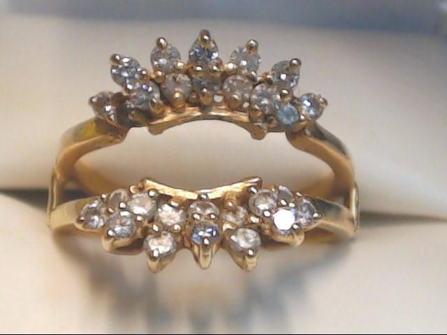 ESTATE DIAMOND CLUSTER RING ENHANCER JACKET GUARD 14K GOLD SIZE 8.25