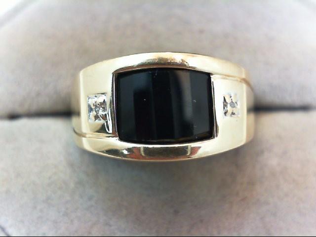 Gent's Diamond Fashion Ring 2 Diamonds .02 Carat T.W. 14K Yellow Gold 6.1g