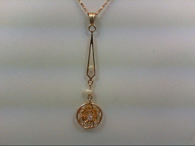 Gold-Diamond Solitaire Pendant .02 CT. 10K Yellow Gold 1g