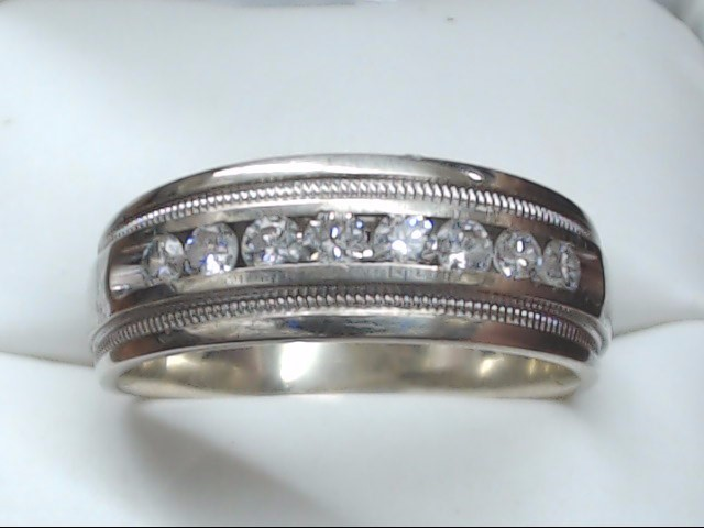 Gent's Gold-Diamond Wedding Band 8 Diamonds 0.64 Carat T.W. 14K White Gold 8.3g
