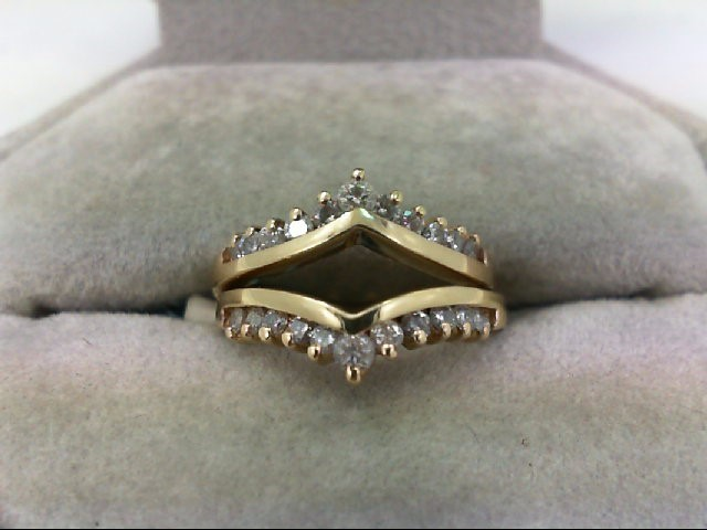 Lady's Gold-Diamond Ring Guard 22 Diamonds 0.46 Carat T.W. 14K Yellow Gold 4.3g