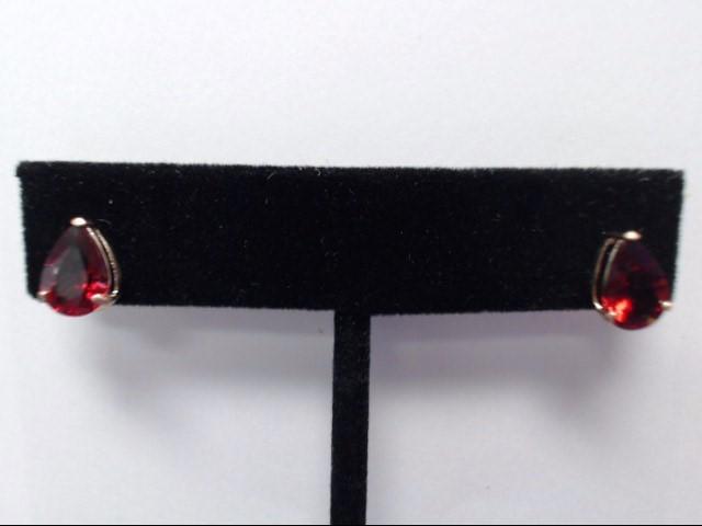 Synthetic Almandite Garnet Gold-Stone Earrings 14K Yellow Gold 1.4g