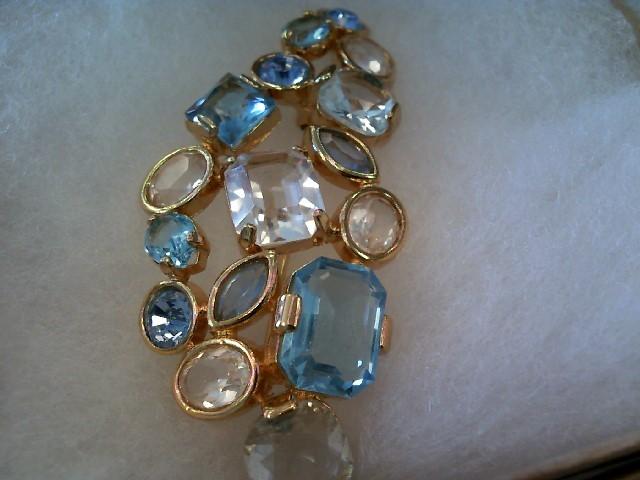 Vintage Swarovski Crystal Gold Toned Blue & White Stone Brooch