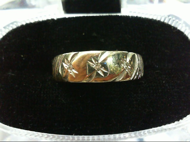 Gent's Gold-Diamond Wedding Band 3 Diamonds .03 Carat T.W. 14K White Gold 4.8g