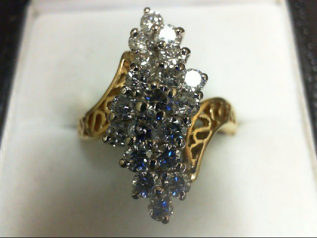 Lady's Diamond Cluster Ring 19 Diamonds 0.97 Carat T.W. 14K Yellow Gold 5.3g
