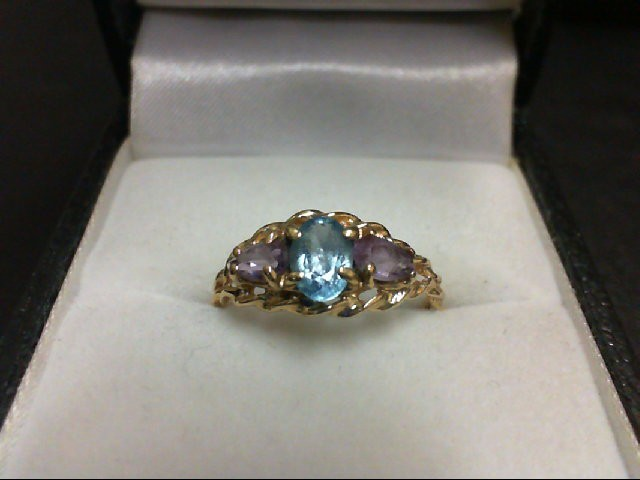Blue Topaz Lady's Stone Ring 14K Yellow Gold 1.8g