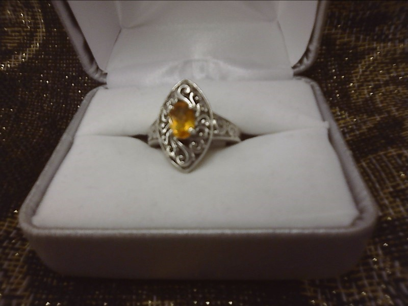 Orange Stone Lady's Silver & Stone Ring 925 Silver 2.59dwt