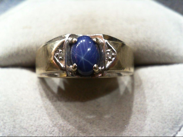 Synthetic Star Sapphire Lady's Stone & Diamond Ring .01 CT. 10K White Gold 3.7g