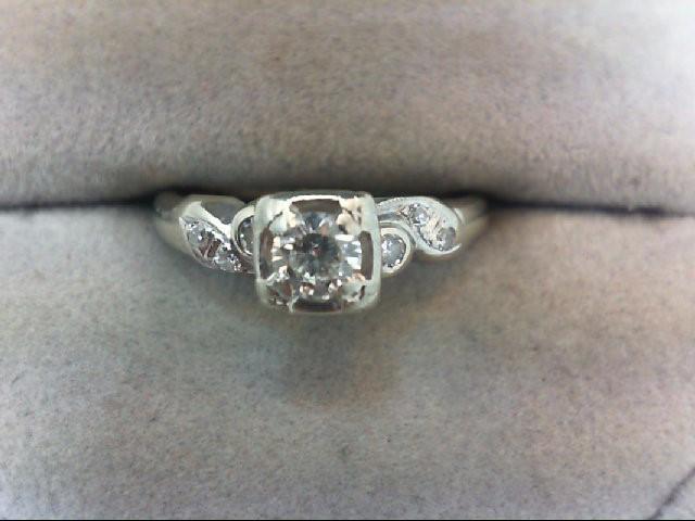 Lady's Diamond Engagement Ring 7 Diamonds .28 Carat T.W. 14K White Gold 2.4g