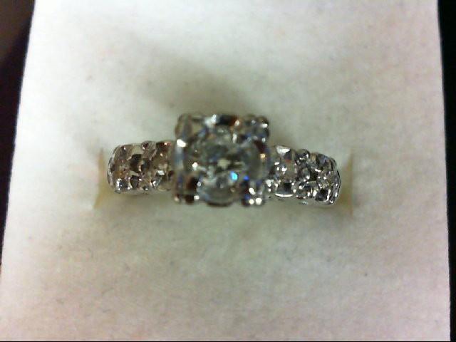 Lady's Diamond Engagement Ring 5 Diamonds 0.29 Carat T.W. 14K White Gold 2.6g