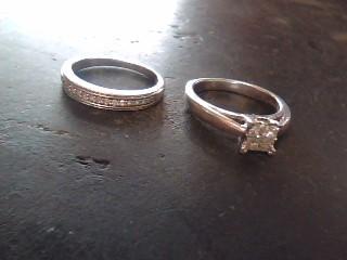 Platinum-Diamond Wedding Set 20 Diamonds .56 Carat T.W. 585 Platinum 3.8dwt