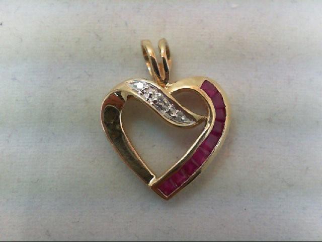 Ruby Gold-Diamond & Stone Pendant .01 CT. 14K Yellow Gold 1.8g