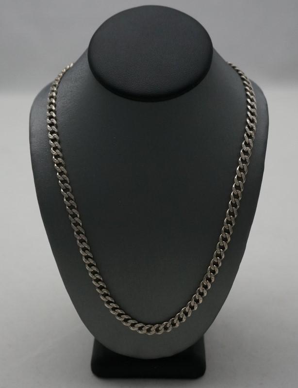 "28"" 2-Sided Silver Curb Chain 925 Silver 15.7dwt"