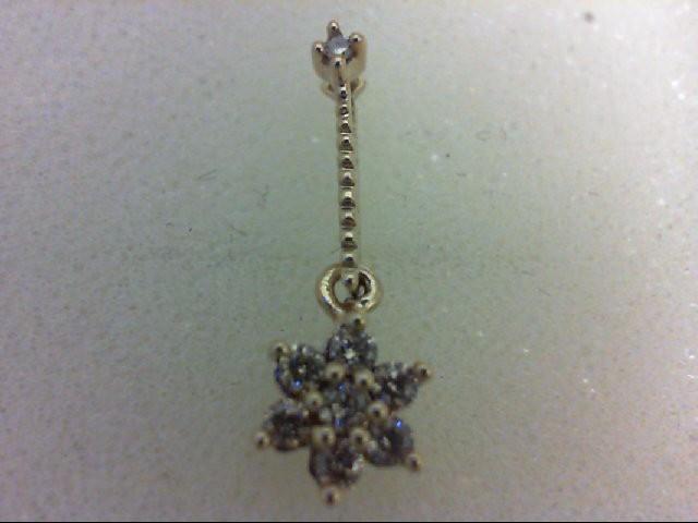 Gold-Multi-Diamond Pendant 8 Diamonds 0.22 Carat T.W. 14K Yellow Gold 0.7g