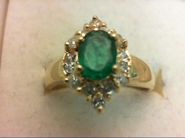Emerald Lady's Stone & Diamond Ring 14 Diamonds 0.52 Carat T.W. 18K Yellow Gold