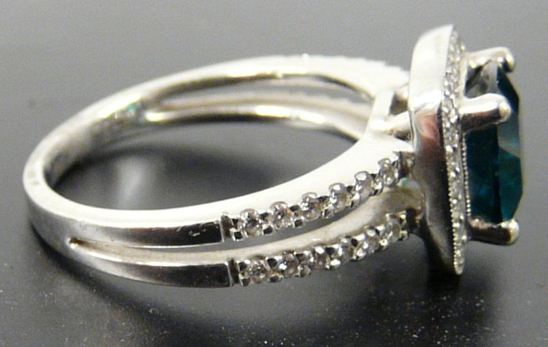 Cushion Cut Lab Created 8mm Emerald & Diamond Ring 14kt White Gold