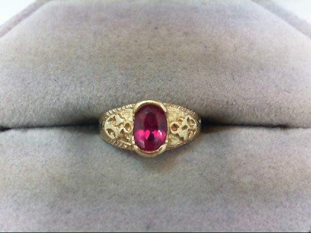 Synthetic Ruby Lady's Stone Ring 14K Yellow Gold 1.6g