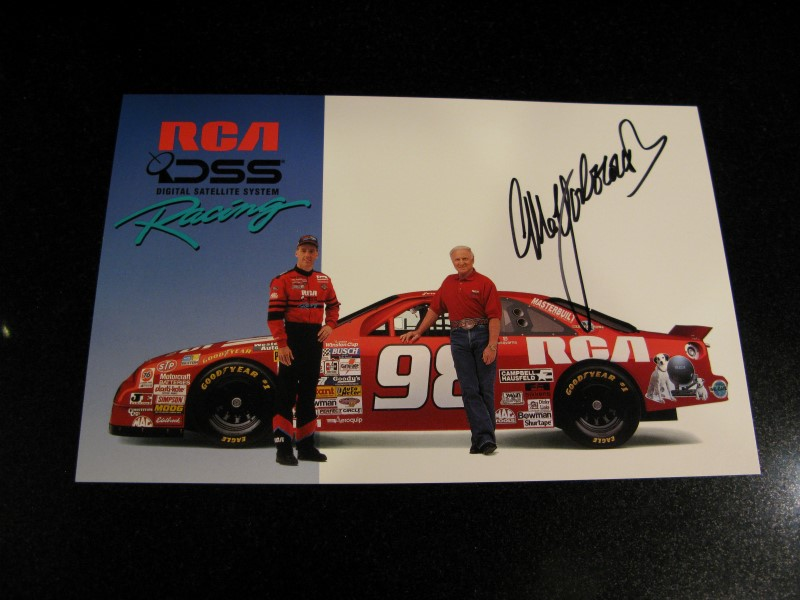 1995 NASCAR Cale Yarborough Autographed Card with Jeremy Mayfield