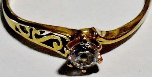Cubic Zirconia Lady's Stone Ring 10K Yellow Gold 1dwt Size:10