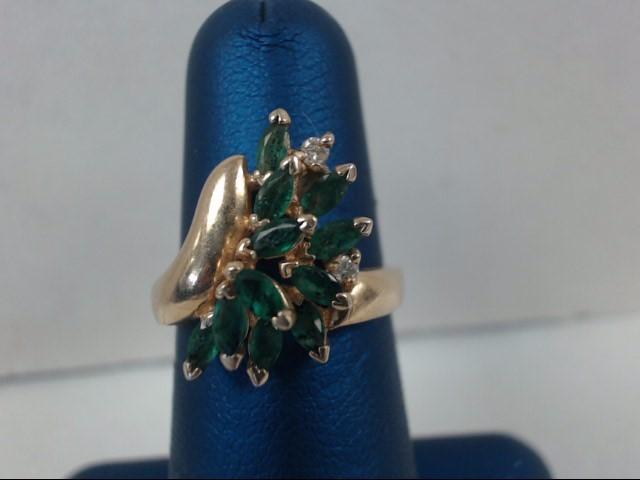 Green Stone Lady's Stone & Diamond Ring 2 Diamonds .04 Carat T.W.
