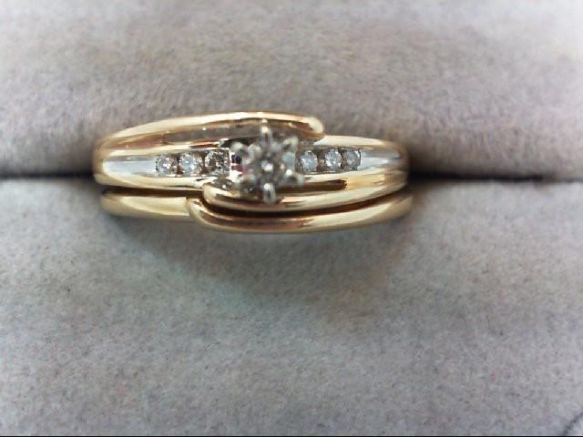 Lady's Diamond Wedding Set 7 Diamonds .14 Carat T.W. 14K Yellow Gold 4.2g