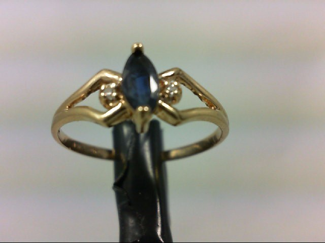 Synthetic Blue Stone Lady's Stone & Diamond Ring 2 Diamonds 0.02 Carat T.W. 10K
