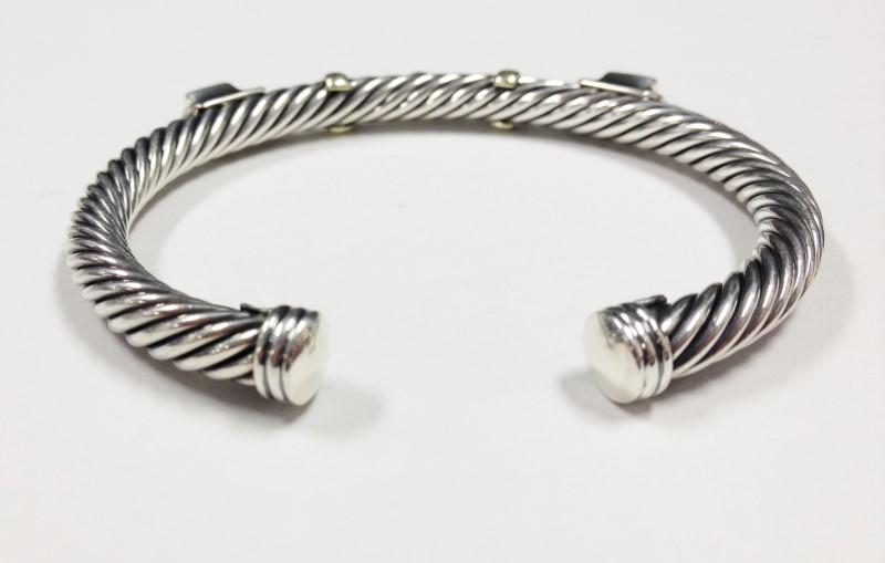 David Yurman Topaz Turquoise 14kt & Sterling Silver Open Twist Bracelet 28.54g