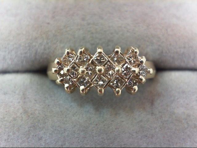 Lady's Diamond Cluster Ring 16 Diamonds .48 Carat T.W. 10K Yellow Gold 2.1g