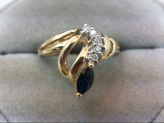 Sapphire Lady's Stone & Diamond Ring 5 Diamonds .05 Carat T.W. 14K Yellow Gold