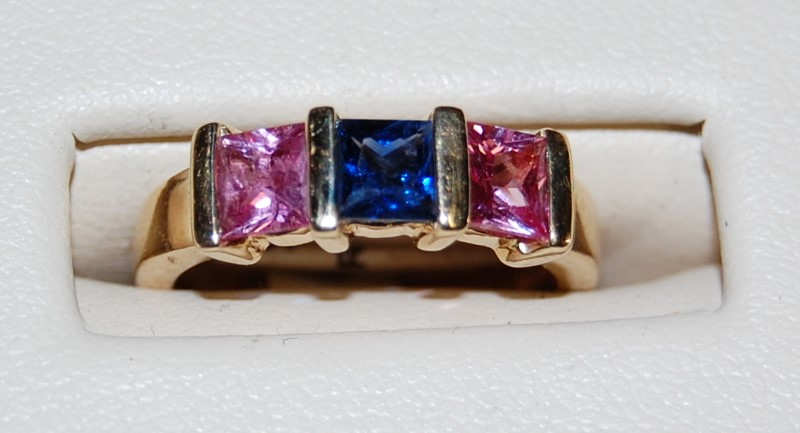 Lady's 14K Yellow Gold Pink & Blue Stone Ring 4.5g 0.1CTW Size 4.25