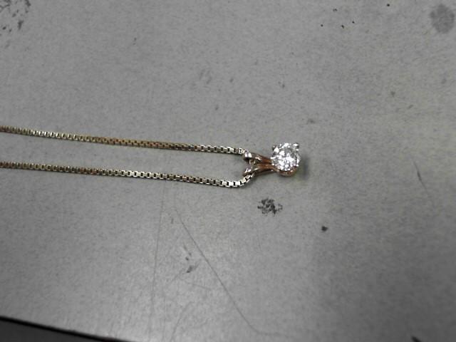 Gold-Diamond Solitaire Pendant .40 CT. 14K Yellow Gold 3.98g