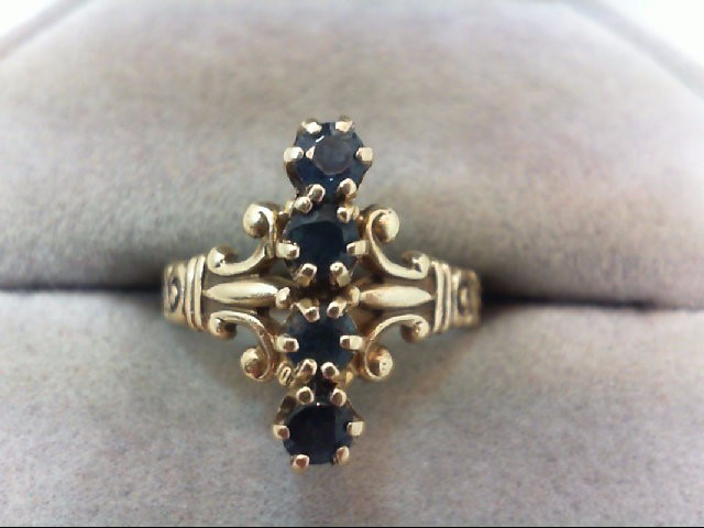 Sapphire Lady's Stone Ring 14K Yellow Gold 3.4g