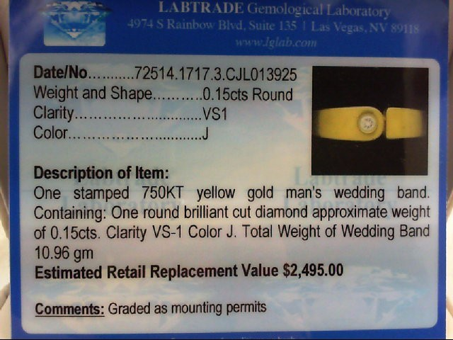 Gent's Diamond Solitaire Ring .15 CT. 18K Yellow Gold 10.96g