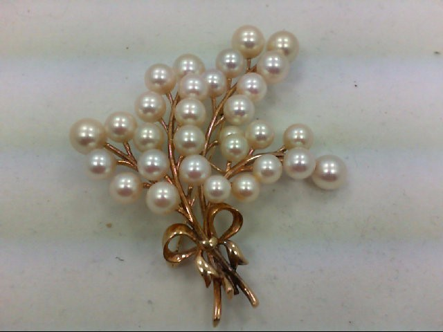 Pearl Gold-Stone Brooch 14K Yellow Gold 20.66g