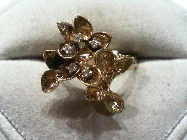Lady's Diamond Fashion Ring 5 Diamonds .05 Carat T.W. 14K Yellow Gold 4.9g